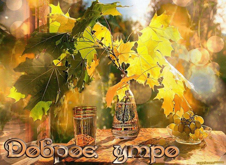 Осень с добрым утром картинки анимация