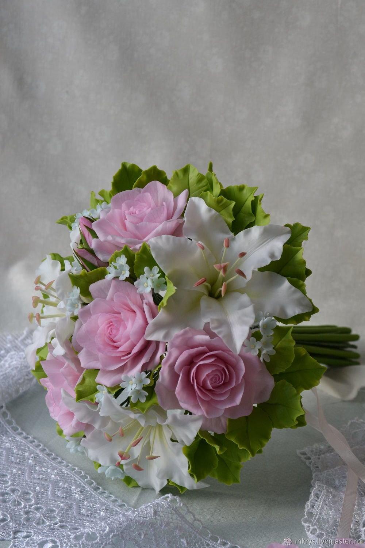 Букет невесты из белых лилии и розы