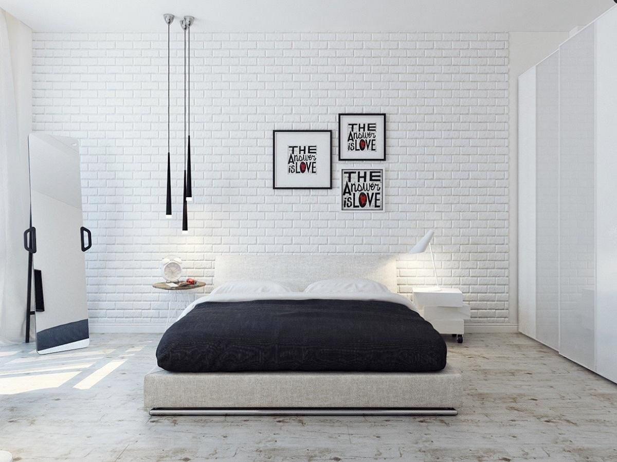комната белый кирпич