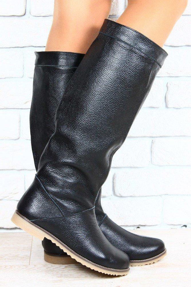 Сапоги женские черные кожаные без каблука на низком ходу размеры 36-40  материал натуральная кожа 5f697746f61