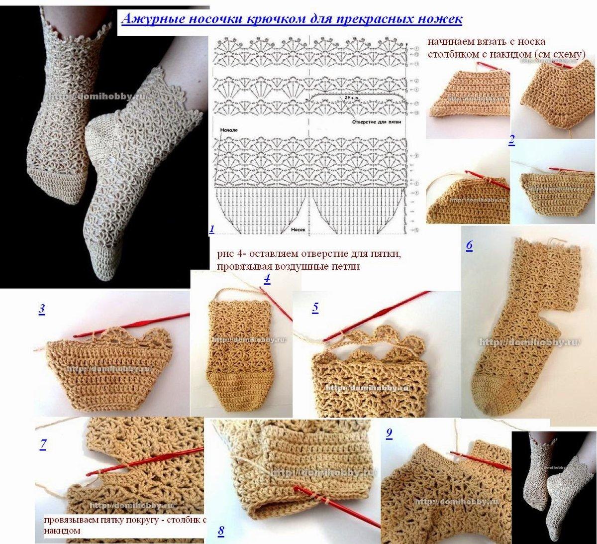 картинки как вязать носки крючком
