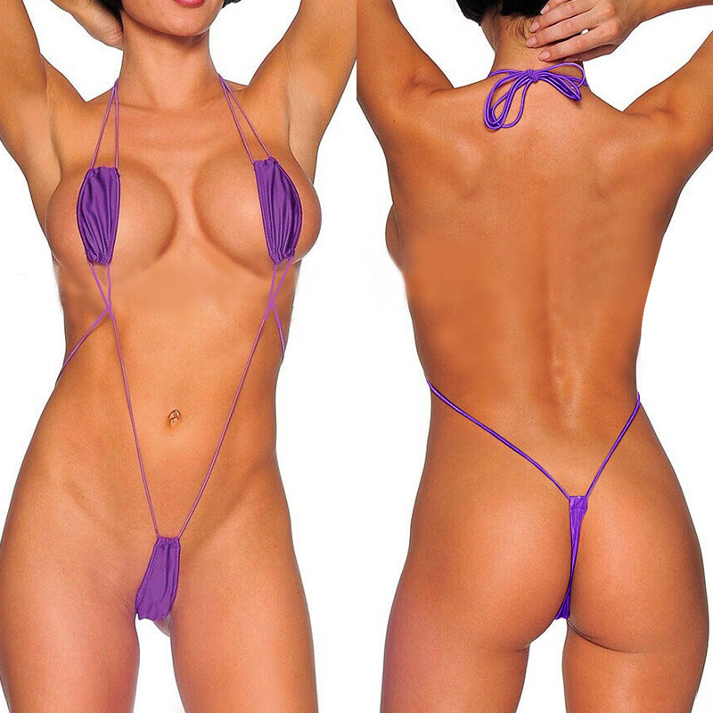 Sexy Micro Bikini Set Underwire Chest Adjust Ribbed Swimsuit Dirtyship 1
