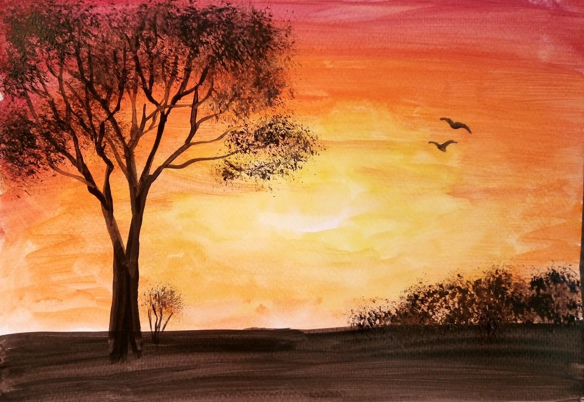 картинки пейзажа рисовать легко землю опускается