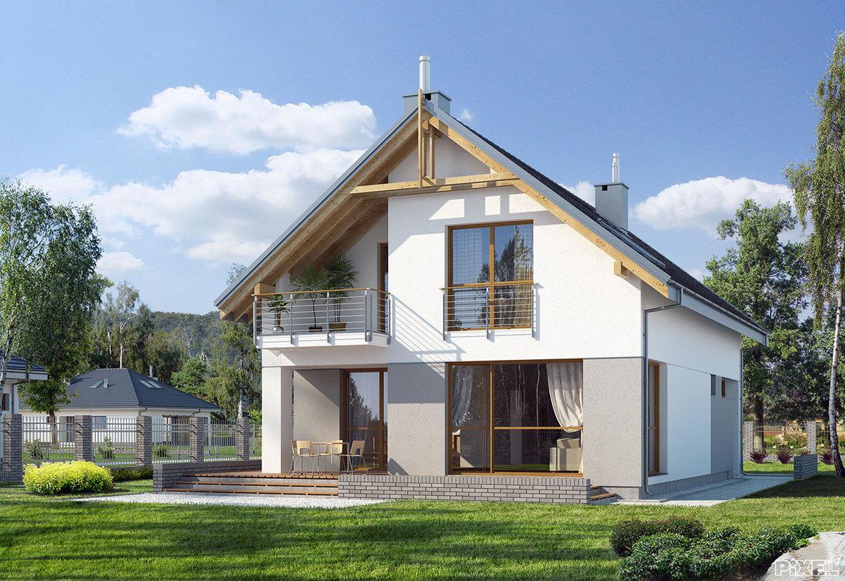 проект дома из газосиликатных блоков с мансардой