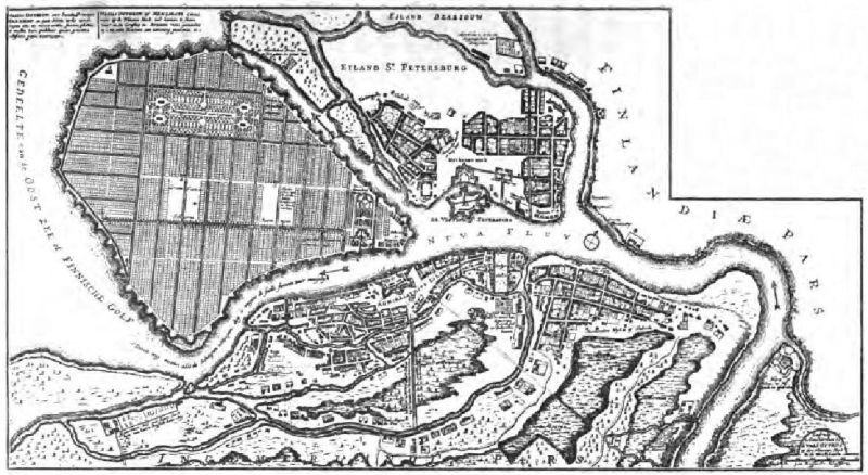 План Петербурга в конце царствования Петра Великого.