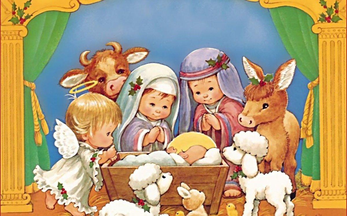 Рождественские открытки для детей