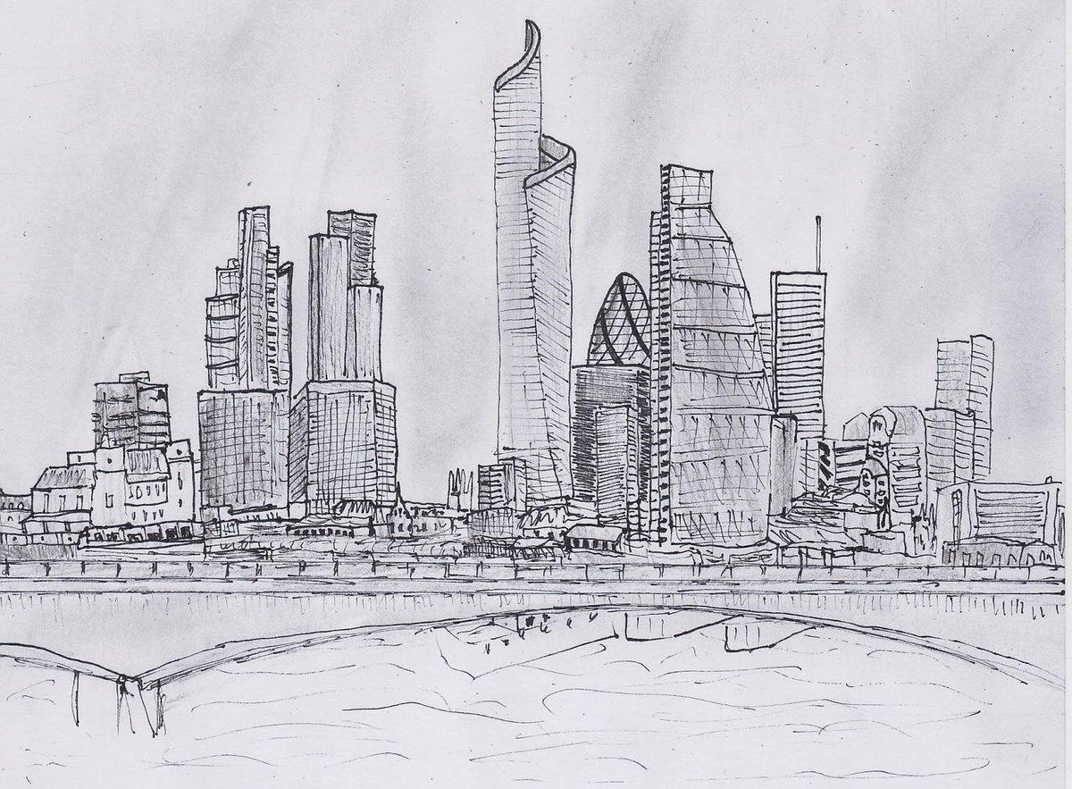 Город картинка карандашом