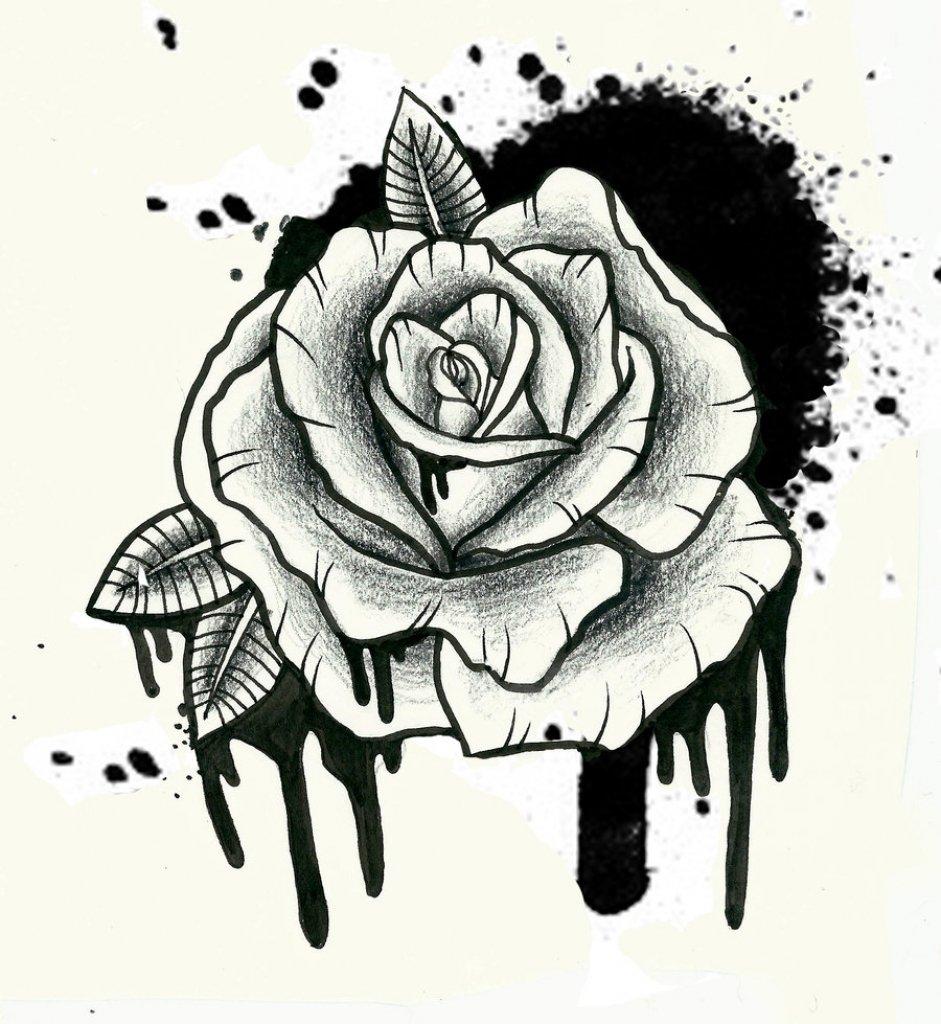Рисунок розы для тату, открытки красивые