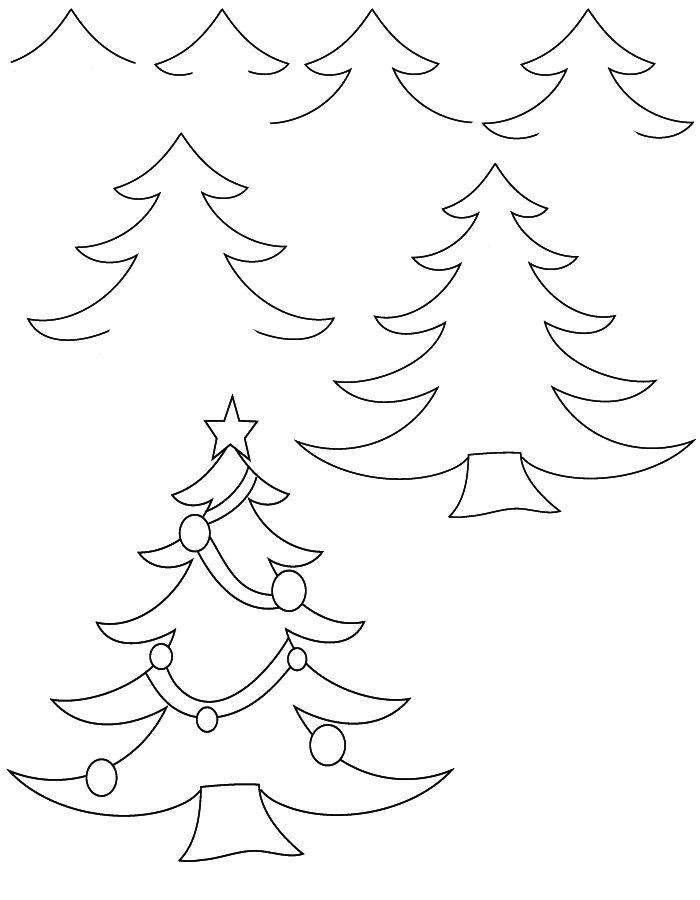 Фото, картинки как нарисовать елку карандашом
