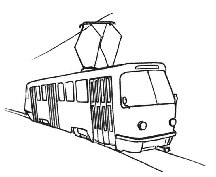 вложив большие контурная картинка трамвая обои