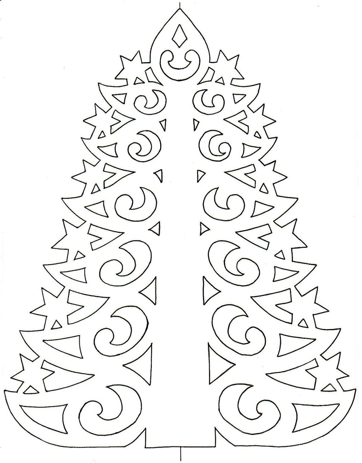 Картинки новогодней елки для вырезания из бумаги распечатать