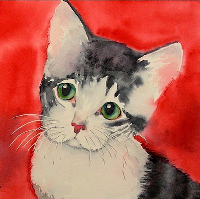 Рисунки кошки поэтапно гуашью управления давлением