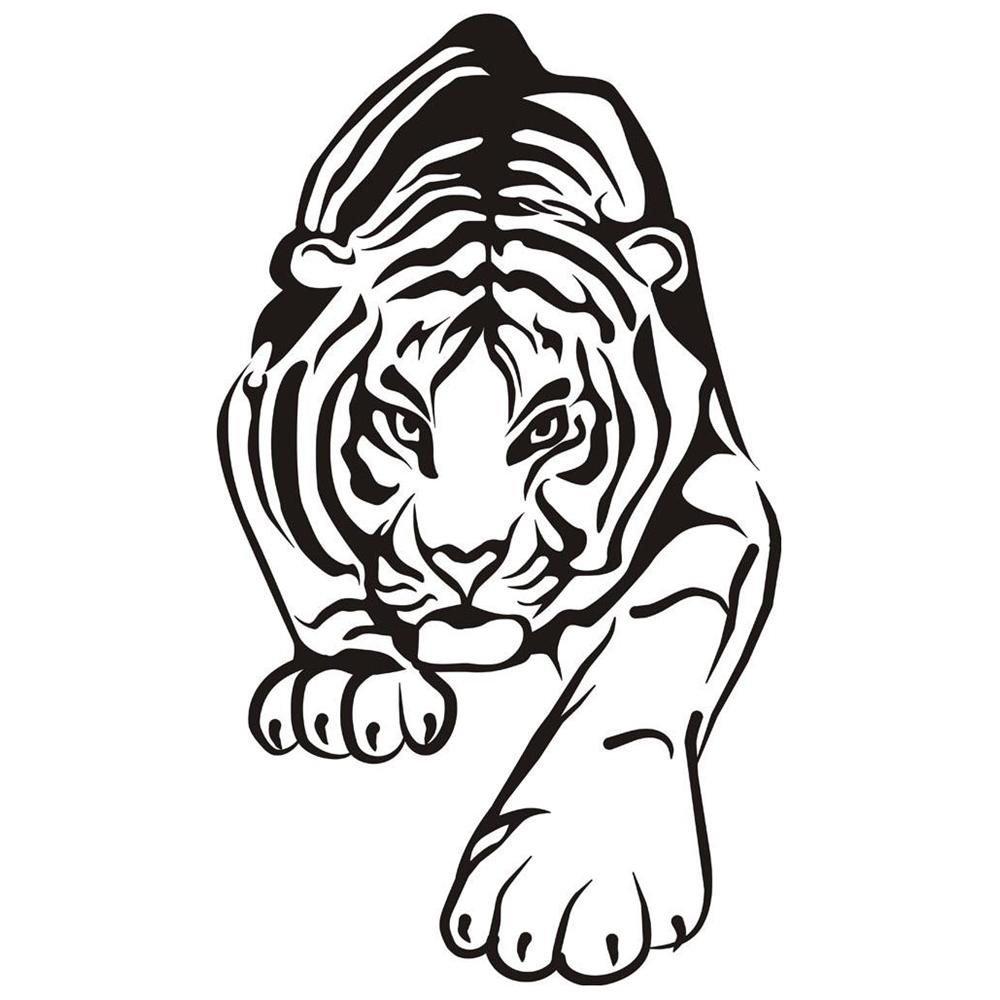 Тигр картинка черно белый