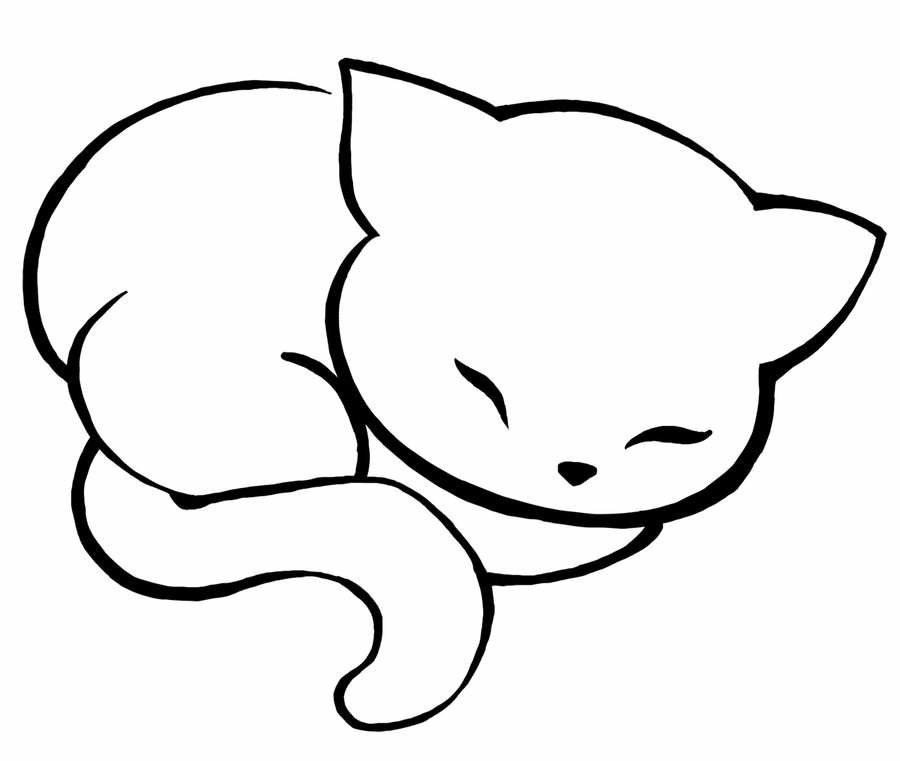 Картинки котят легкие для срисовки