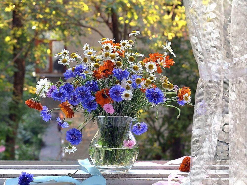 Открытки с букетом полевых цветов и надписью с добрым утром