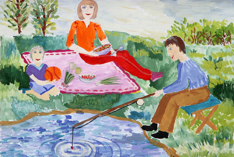 Картинки которые можно нарисовать для семьи лето редуктор мотоблока