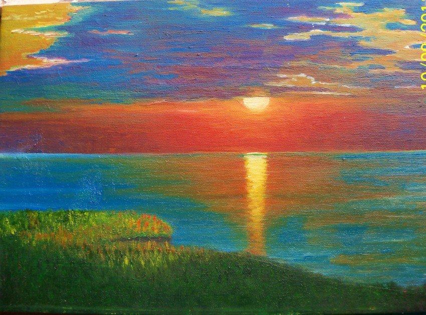 Восход солнца картинки нарисованные, открытка марта