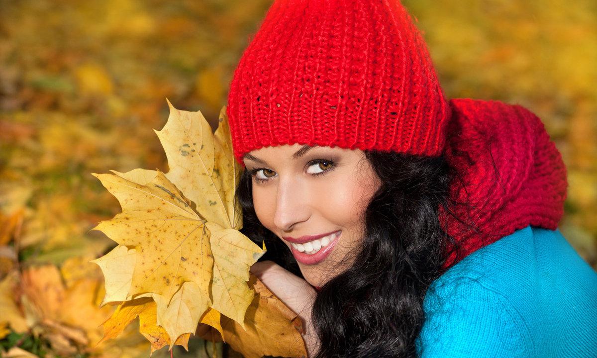 Женщина и осень картинки красивые, открытка зеленая
