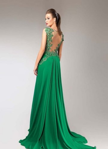 1f81387d2795733 Красивые зеленые платья в пол 2018-2019. Модные вечерние платья зеленого  цвета на выпускной