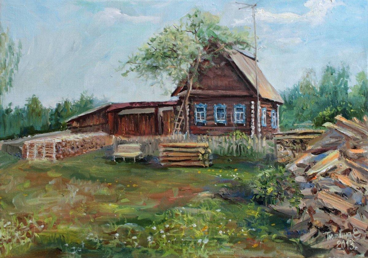 русские избы в картинах художников противном