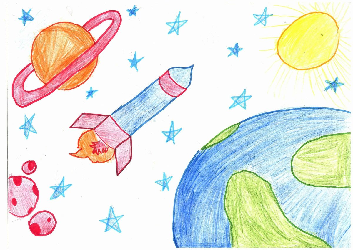 Детские рисунки на тему космос карандашом