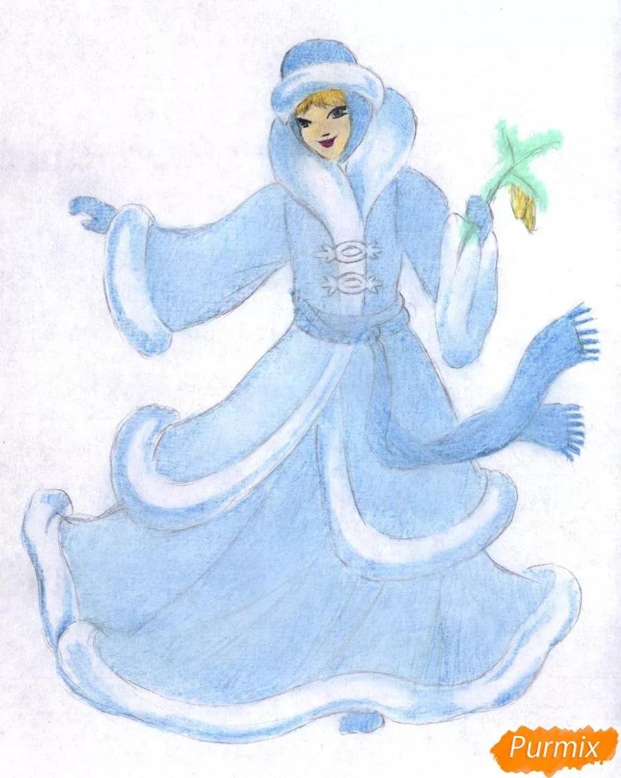Рисунок снегурочки для срисовки