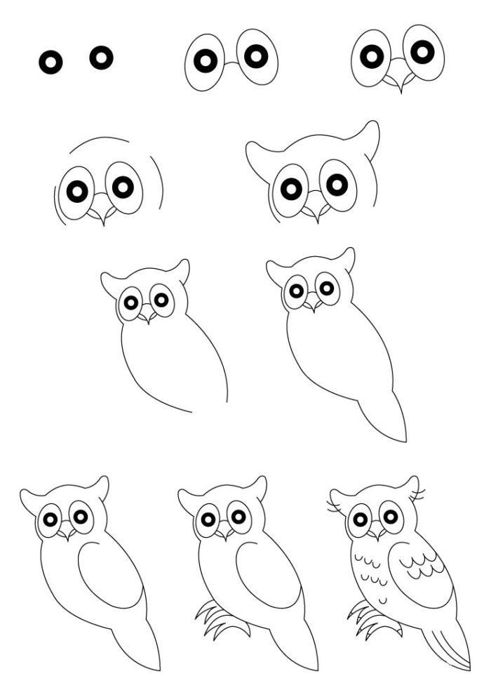 Простая картинка сову как нарисовать