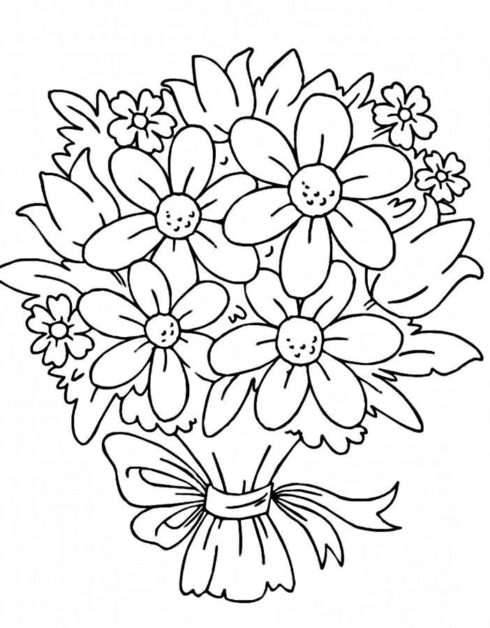 Добрым, цветок открытка раскраска