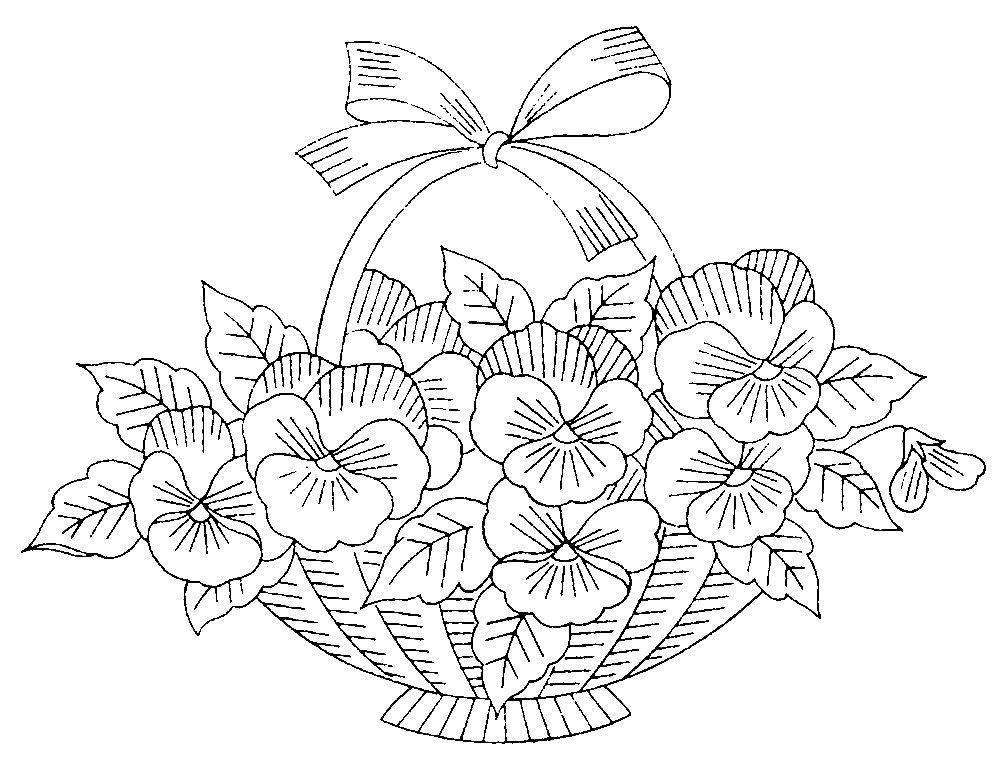 Цветы в корзинке картинки нарисованные