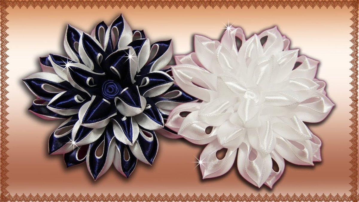 Букет, красивые цветы из ленты 2.5 см