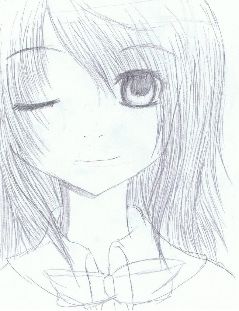 Аниме девушки картинки карандашом