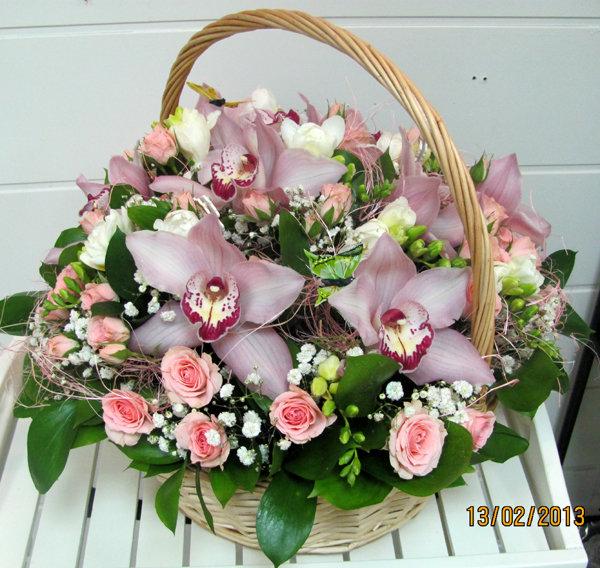 Букет из розы в корзинах на свадьбу, подарок