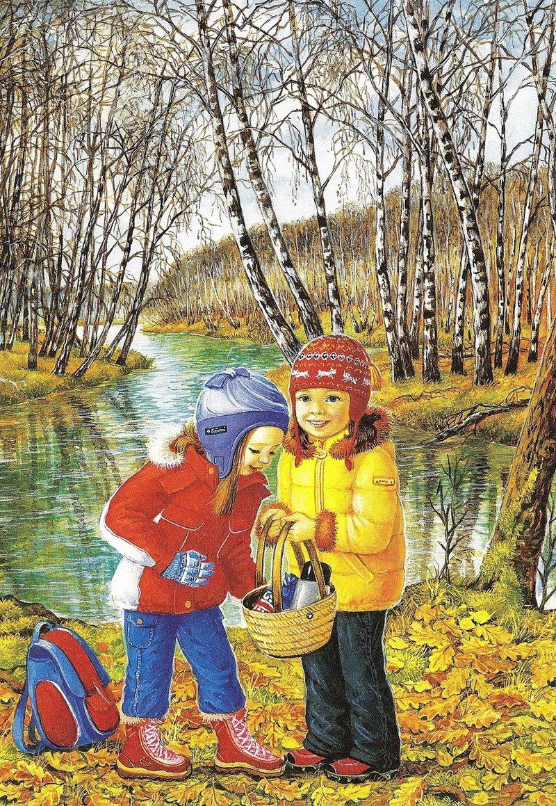 Осень и дети - растровые иллюстрации. Обсуждение на LiveInte