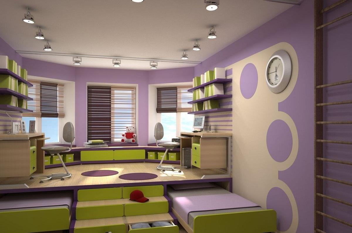 Дизайн детской комнаты для двоих детей выполняется с учетом конструктивных особенностей помещения и потребностей подрастающего поколения.