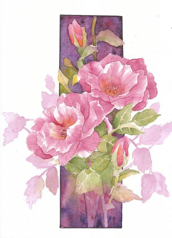Букет из 15 роз акварелью поэтапно, днем святого валентина