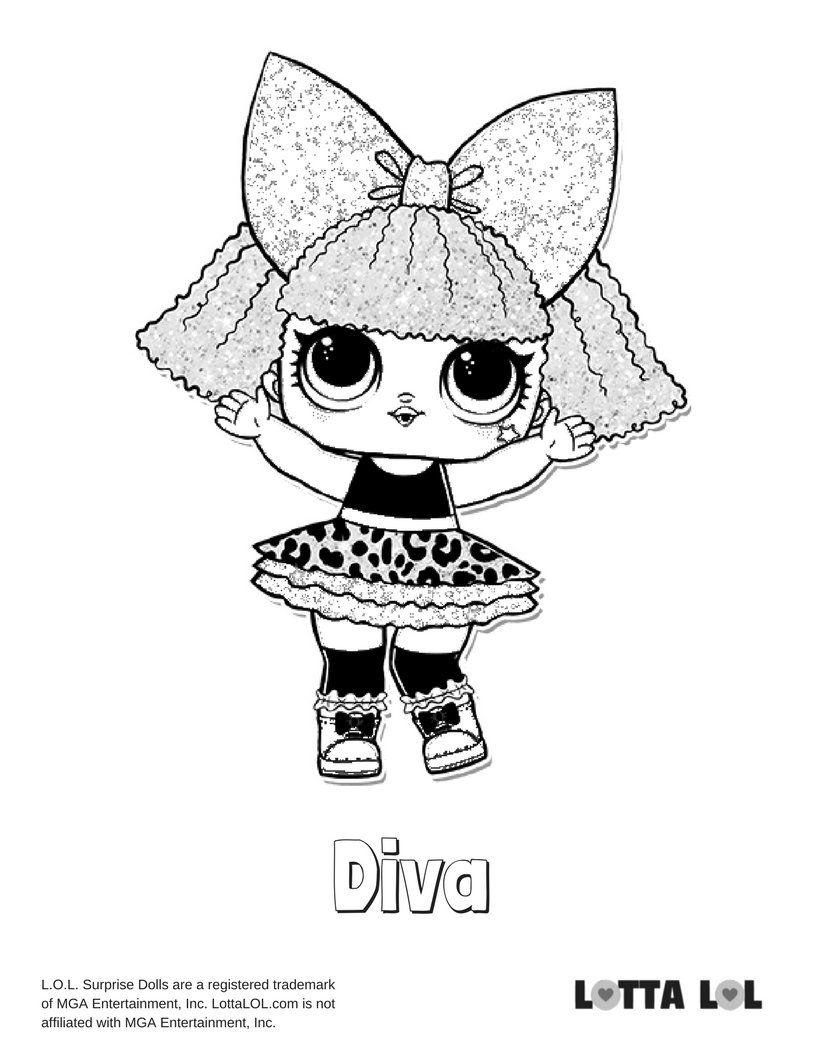 Diva Glitter Lol Surprise Doll Coloring Page Lotta Lol Card From