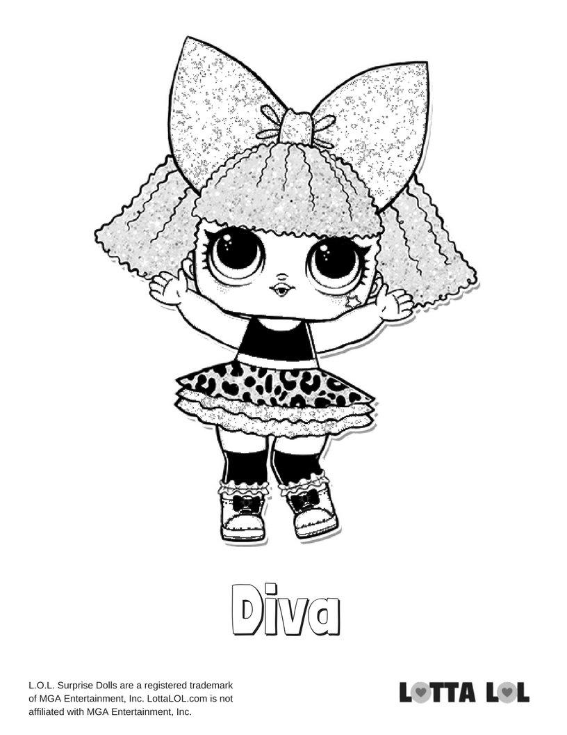 Diva glitter lol surprise doll coloring page lotta lol card from user kuprienkoalina in - Diva lol surprise ...