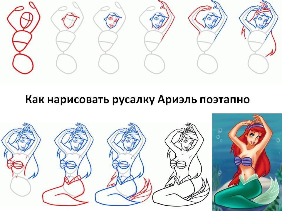 картинки учимся рисовать русалочку можно найти кадры