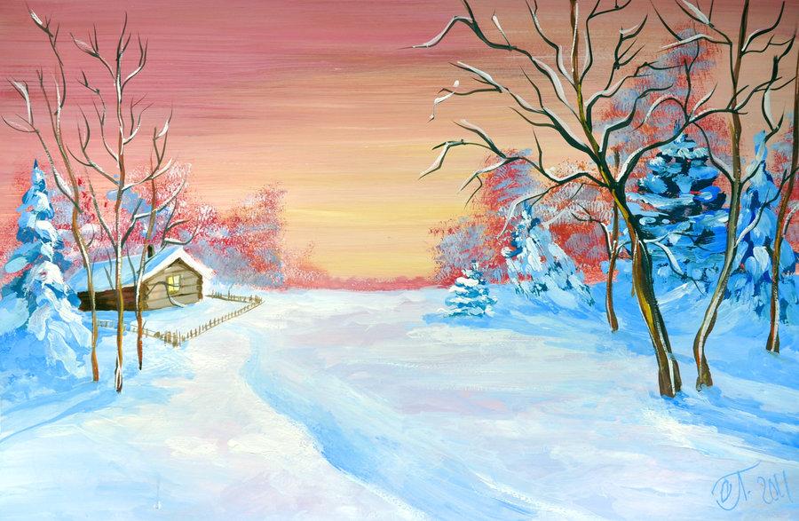 Рисунок зимние пейзажи