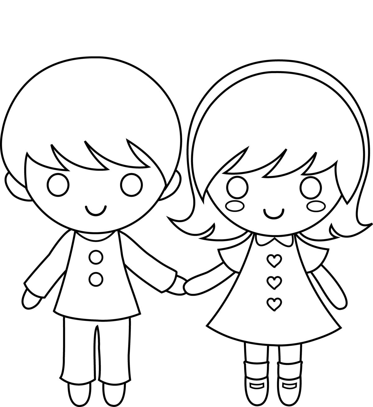 Девочка и мальчик картинка карандашом