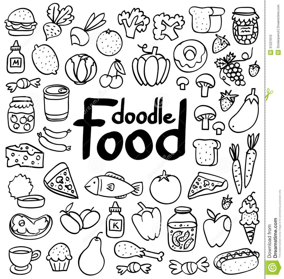 Doodle еды иллюстрация вектора. иллюстрации насчитывающей бы