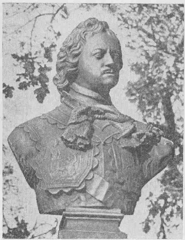 Бюст Петра I, установленный перед его Домиком.