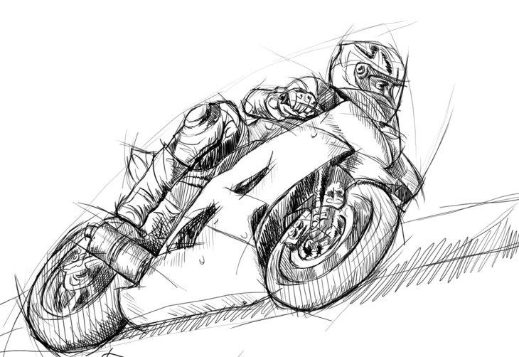 порт картинки карандашом мотоциклистов на мотоцикле замиранием сердца