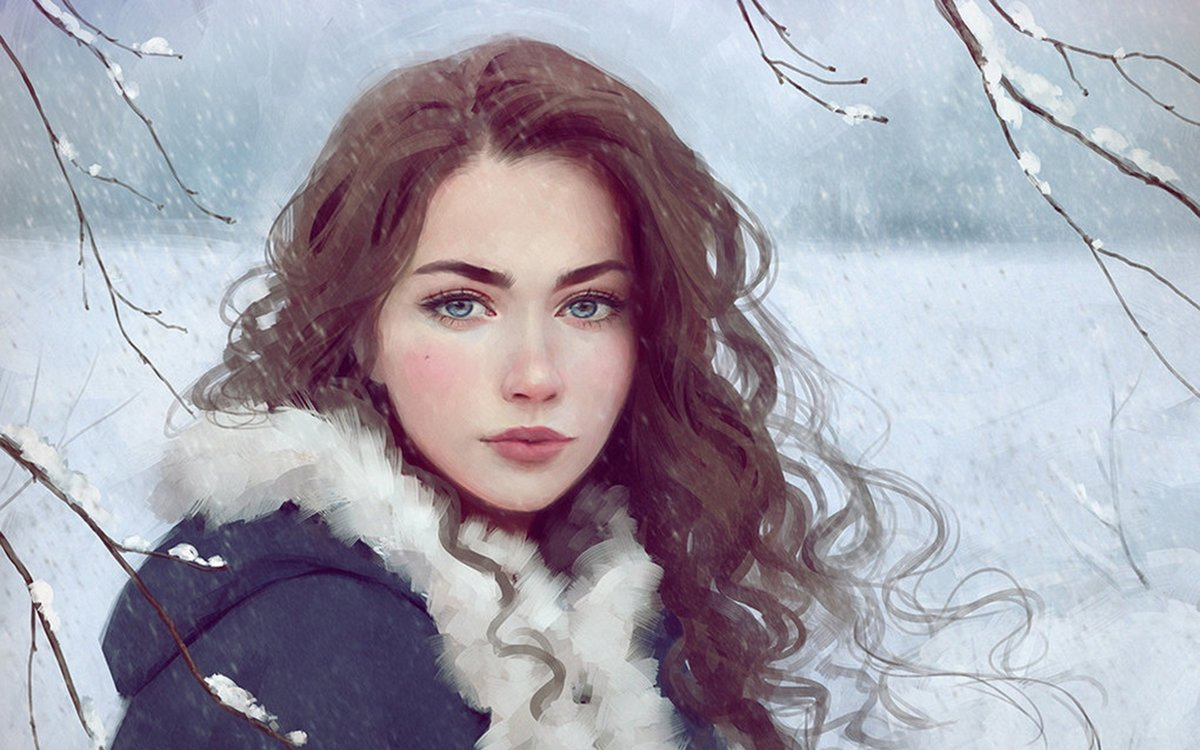 Улучшающие, картинки девушка зима красивые нарисованные
