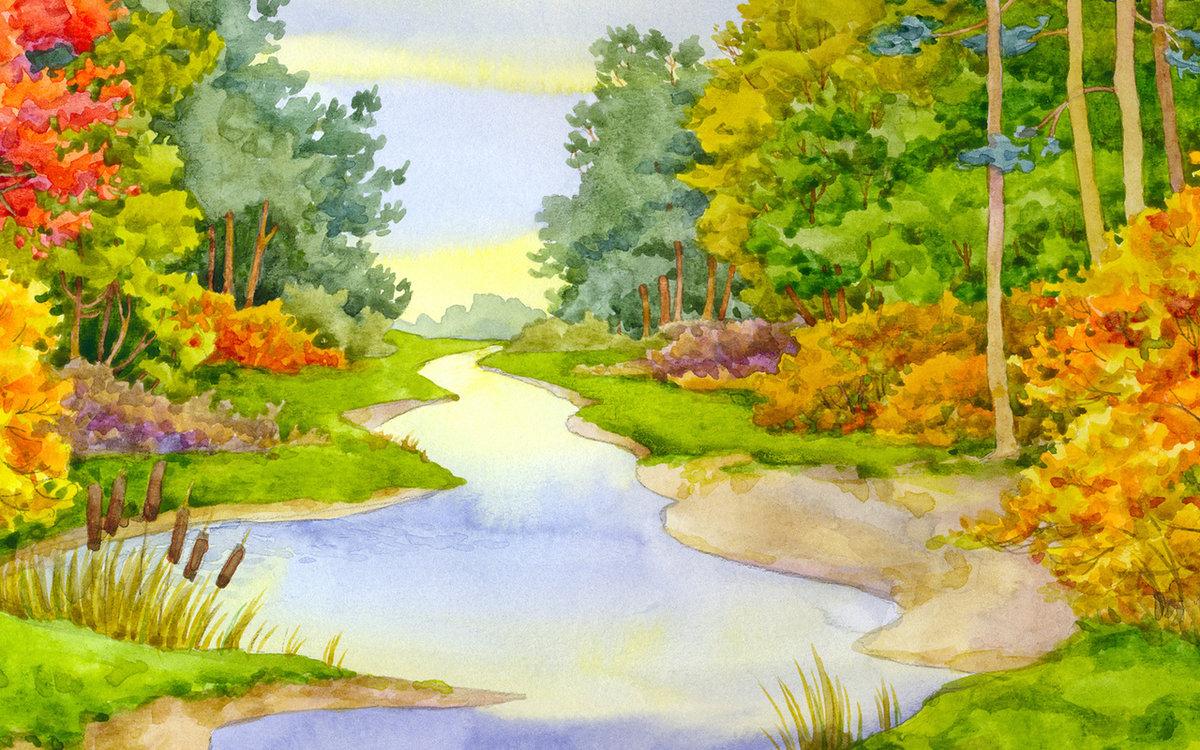 Приколы, осенний лес картинки для детей нарисованные