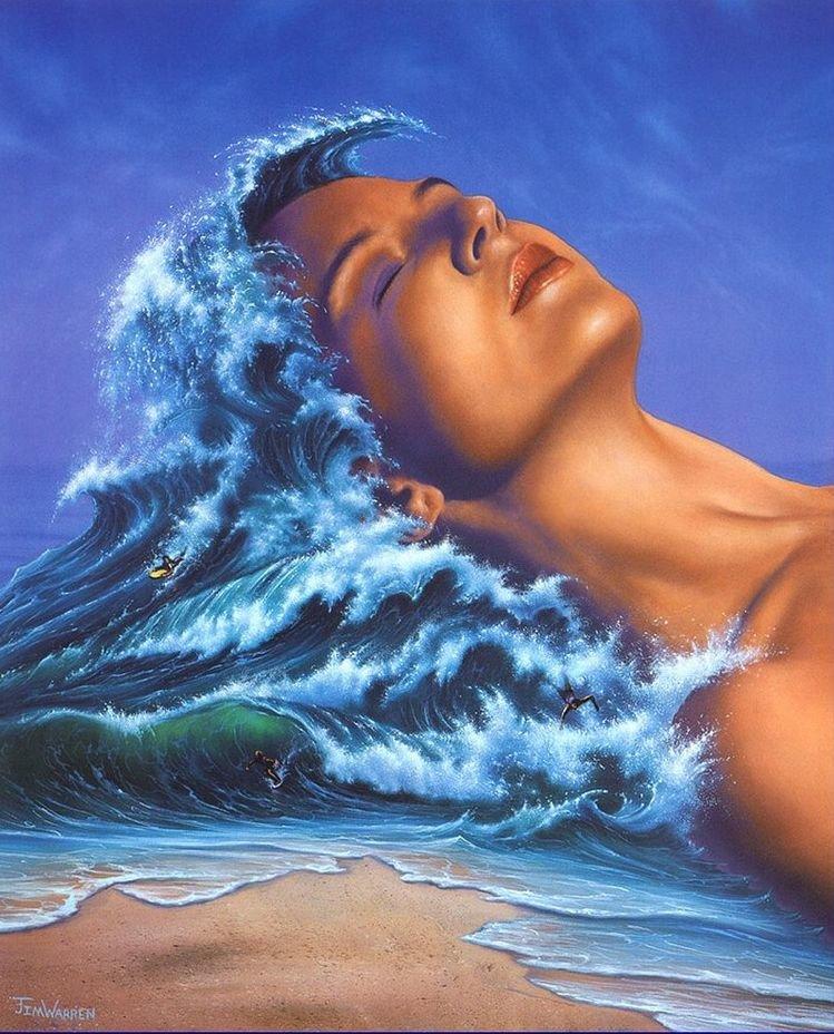 Картинка анимация женщина и море