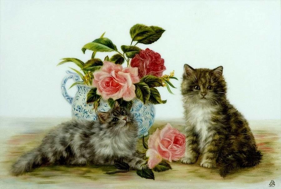 Цветы и кошки открытка