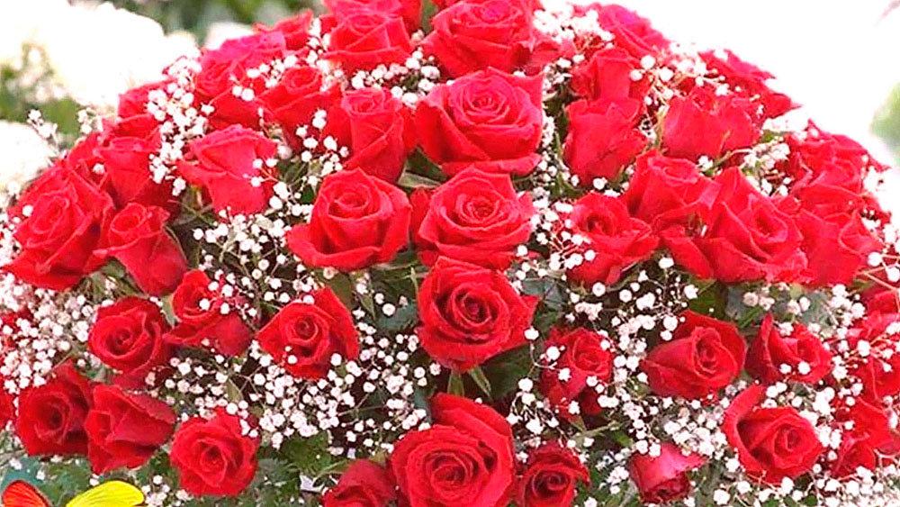 Годик стихи, картинка с днем рождения большой букет роз