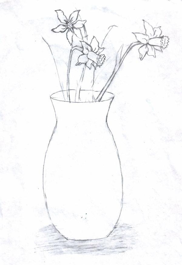 фото ваза с цветами рисунки простым карандашом официально взяла себе