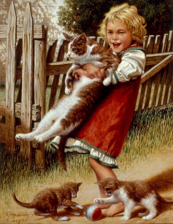 Открытки с детьми и животными